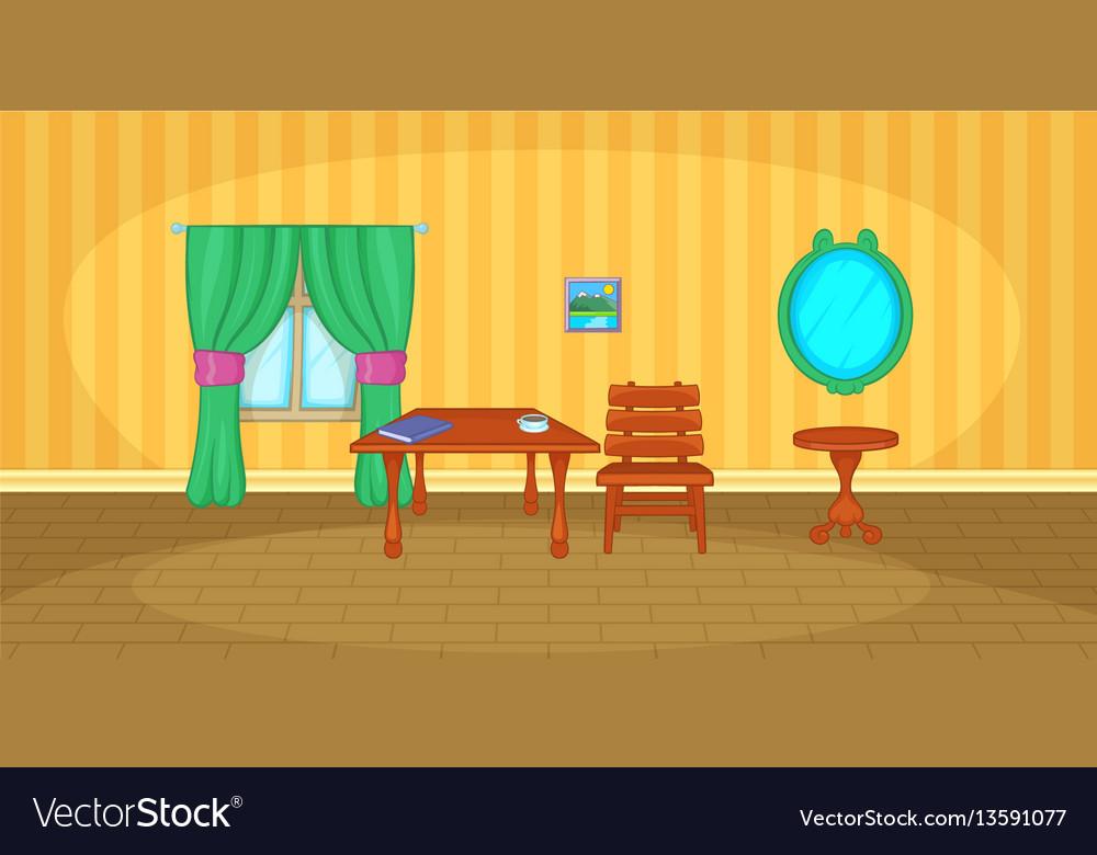 Interior horizontal banner cartoon style