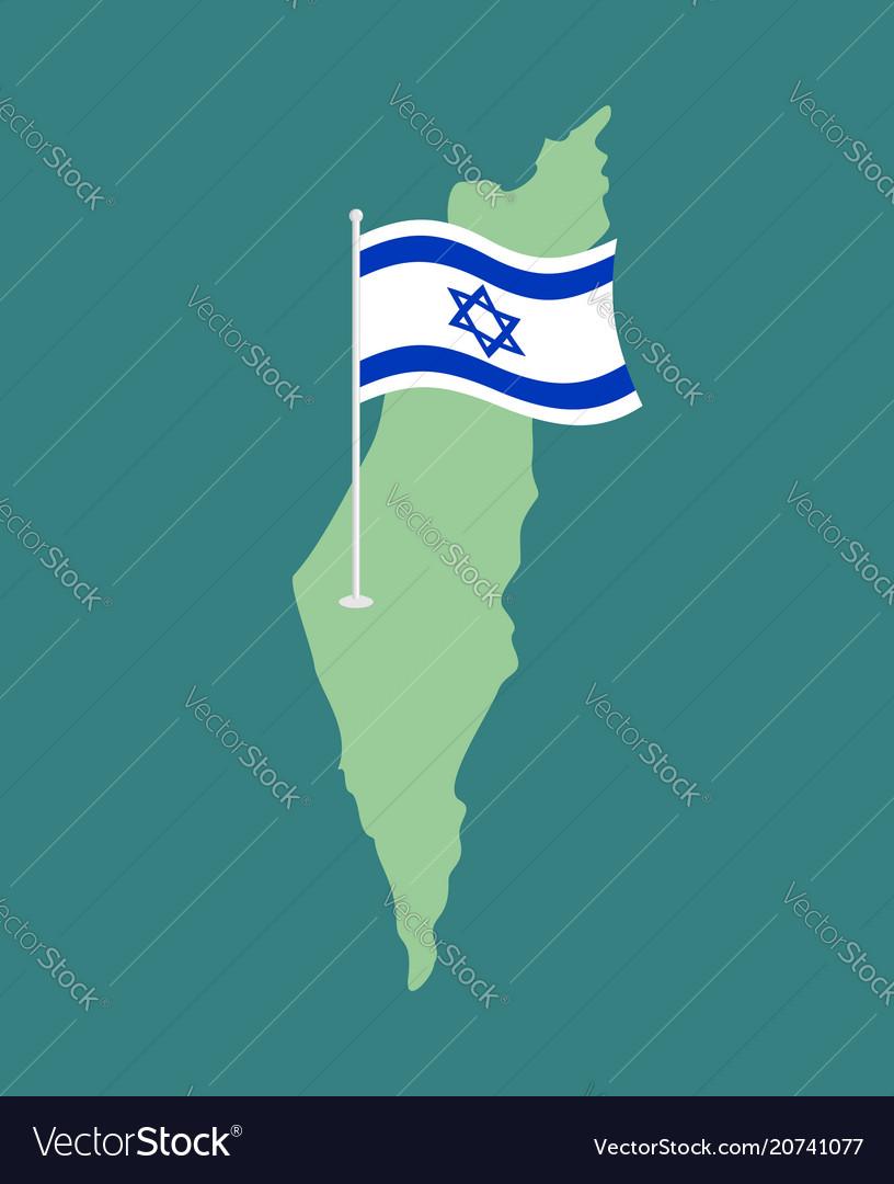 Israel flag and map israeli banner ribbon jewish vector image