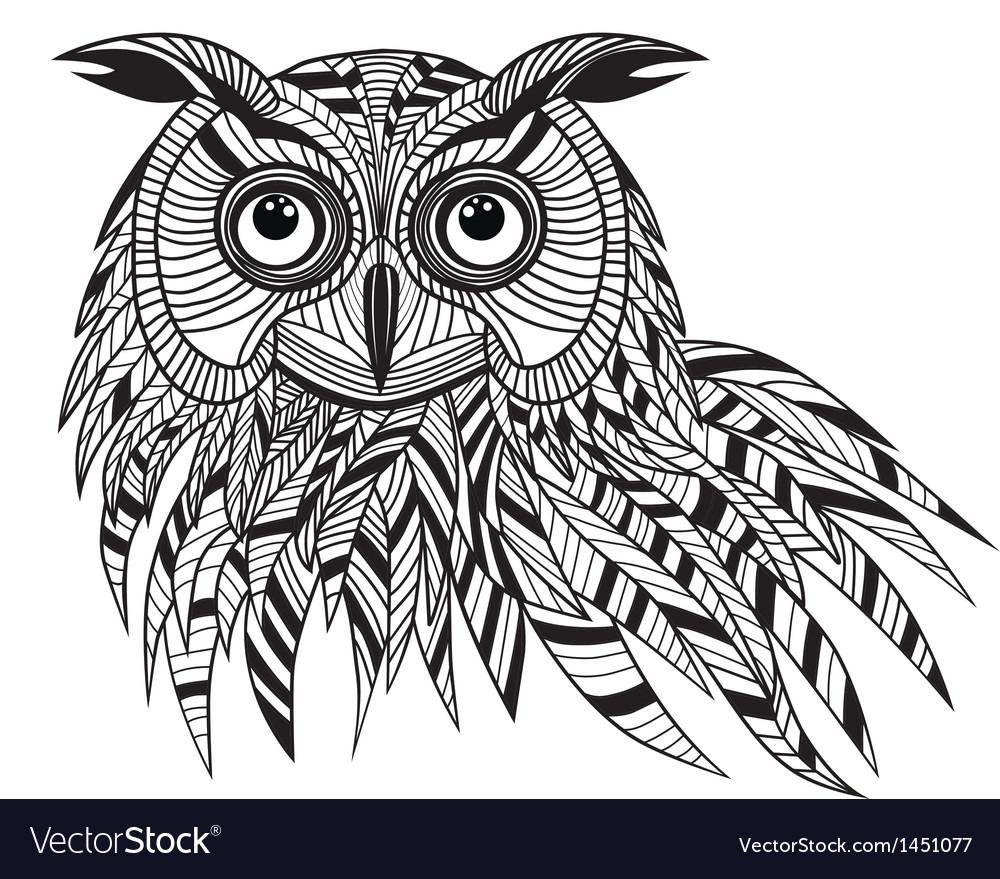 Owl bird head as halloween symbol