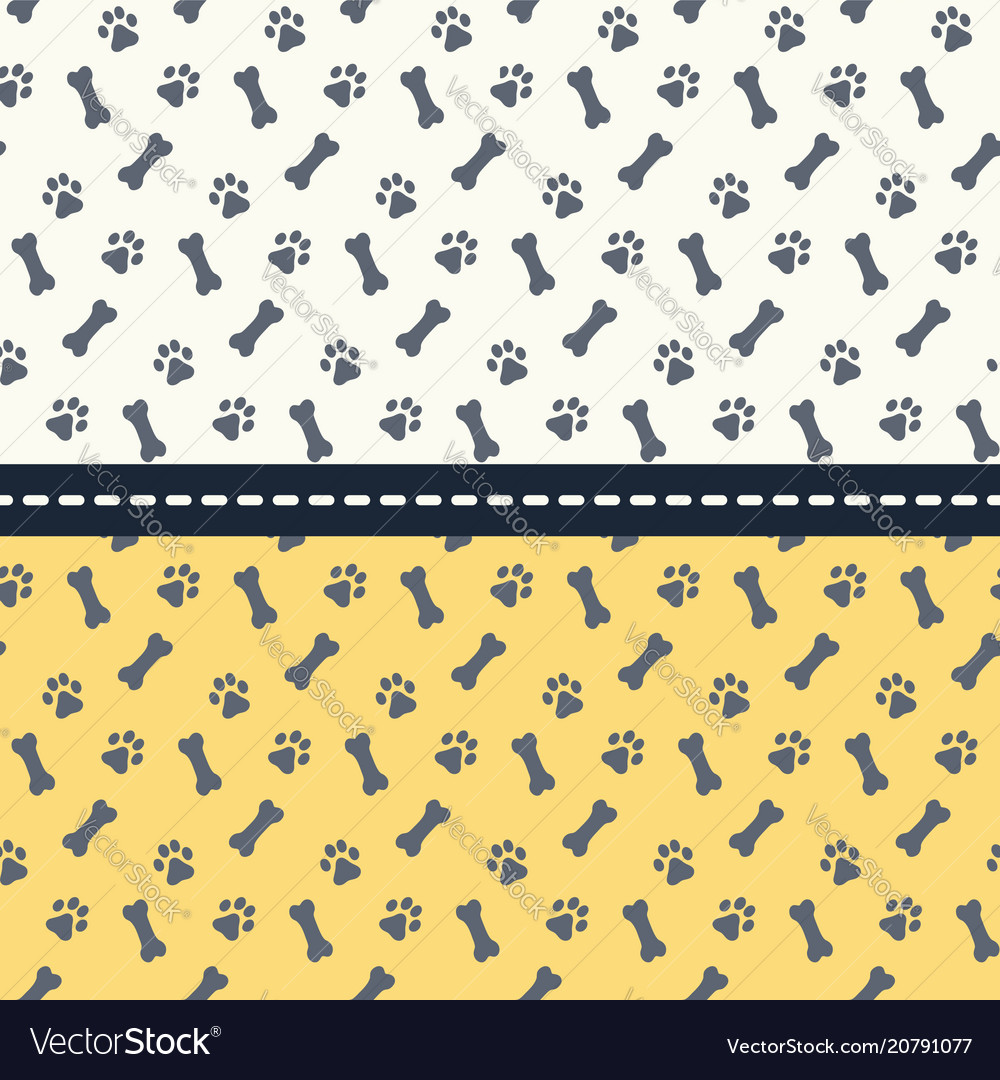 Set seamless patterns with paws and bones