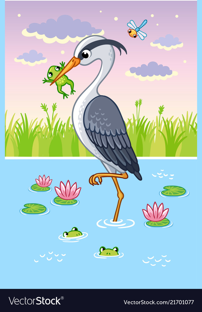 With a bird in cartoon style
