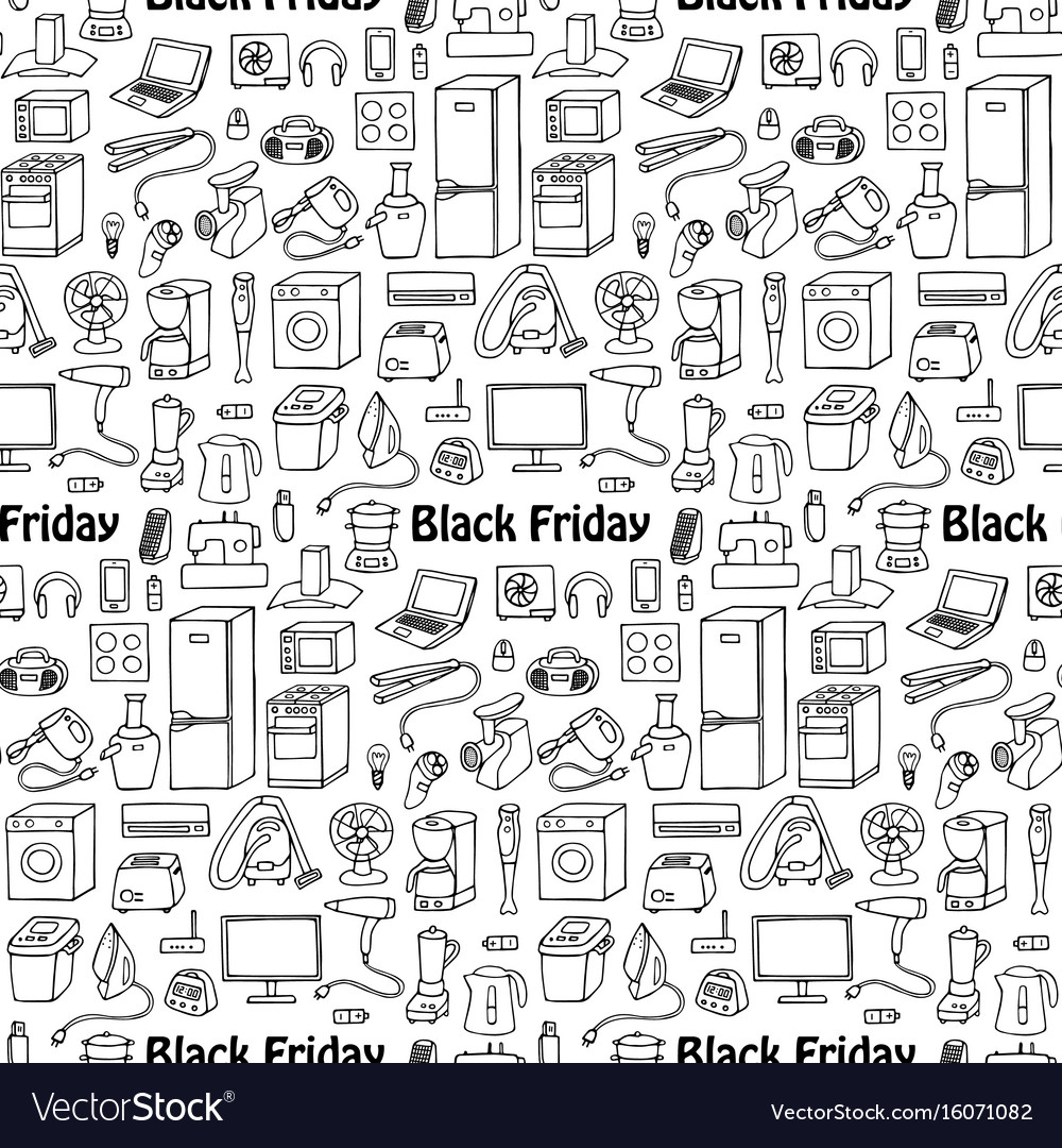 Black friday household seamless pattern vector image