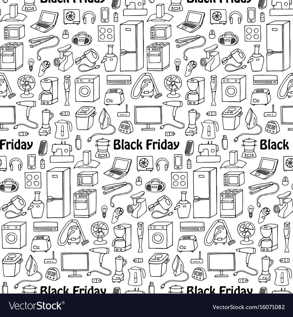 Black friday household seamless pattern