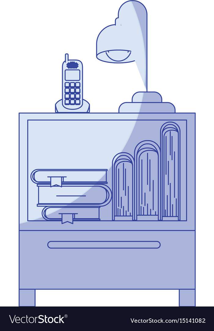 Blue shading silhouette of nightstand with vector image