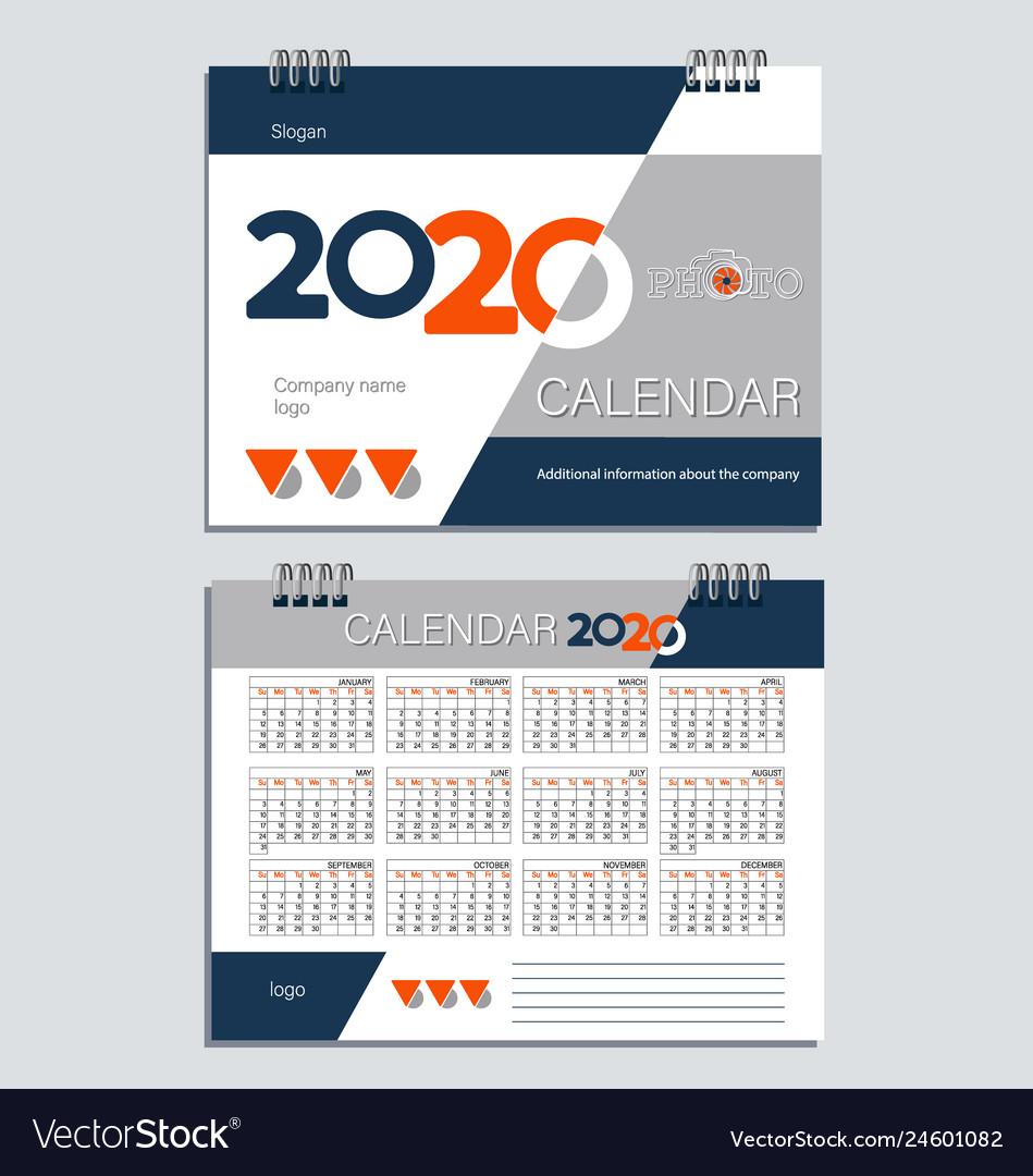 Free Desktop Calendar 2020 Desktop calendar for 2020 template Royalty Free Vector Image