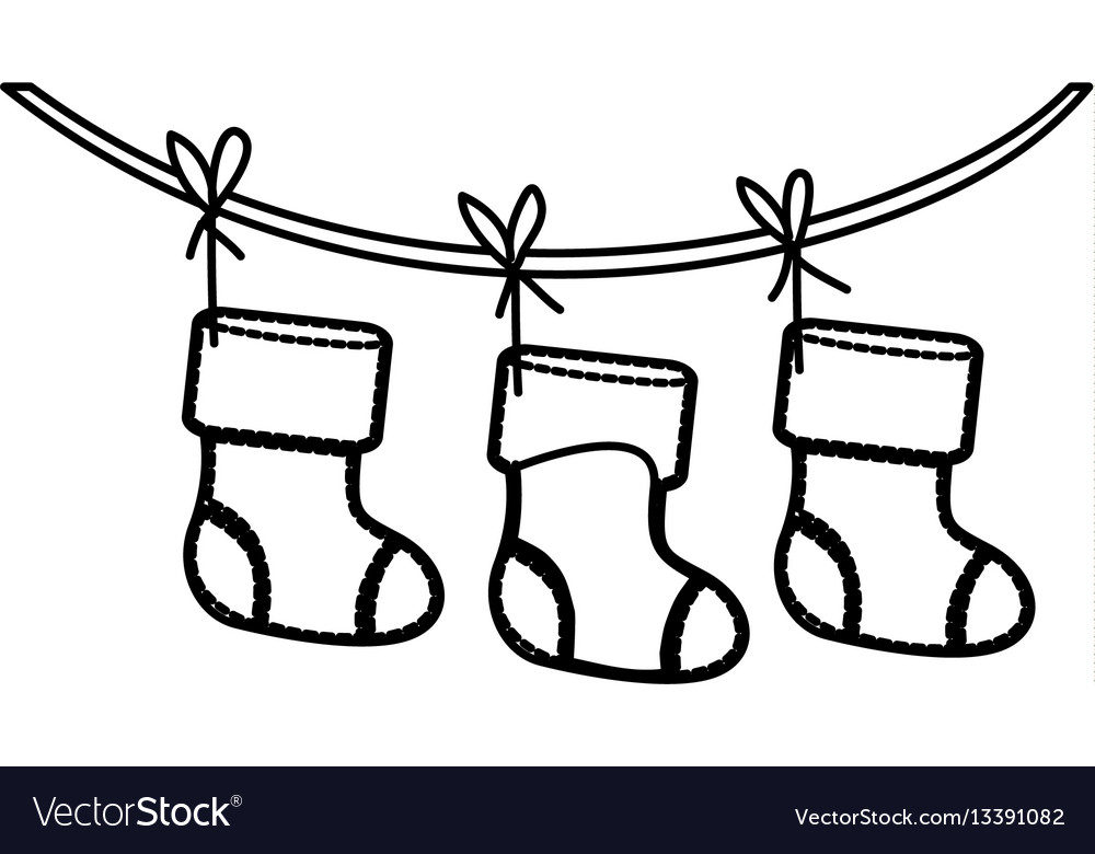 Christmas Boots Drawing.Figure Christmas Boots Hanging On A Rope