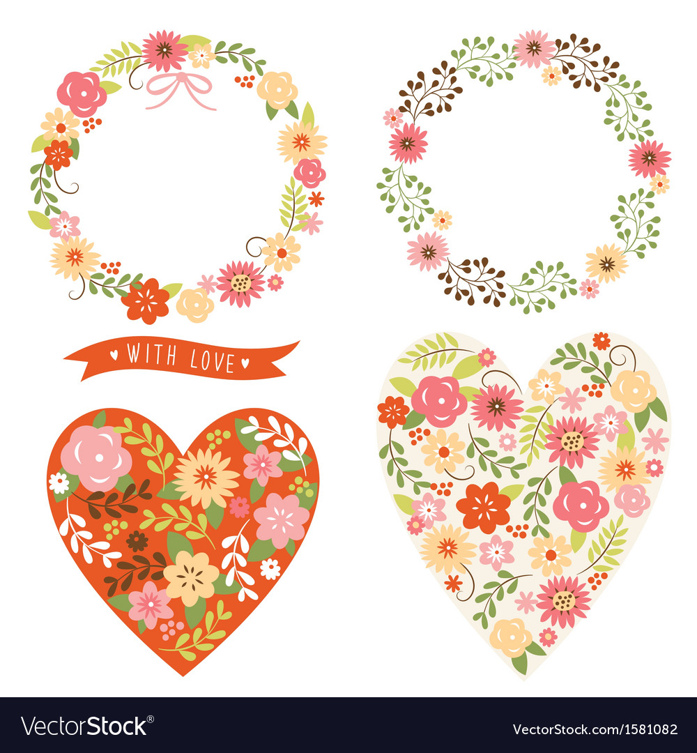 Floral wreath and heart