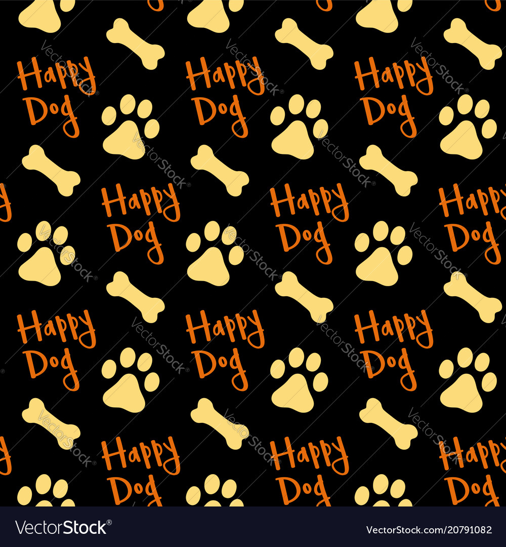 Footprints dog and bones background seamless vector image