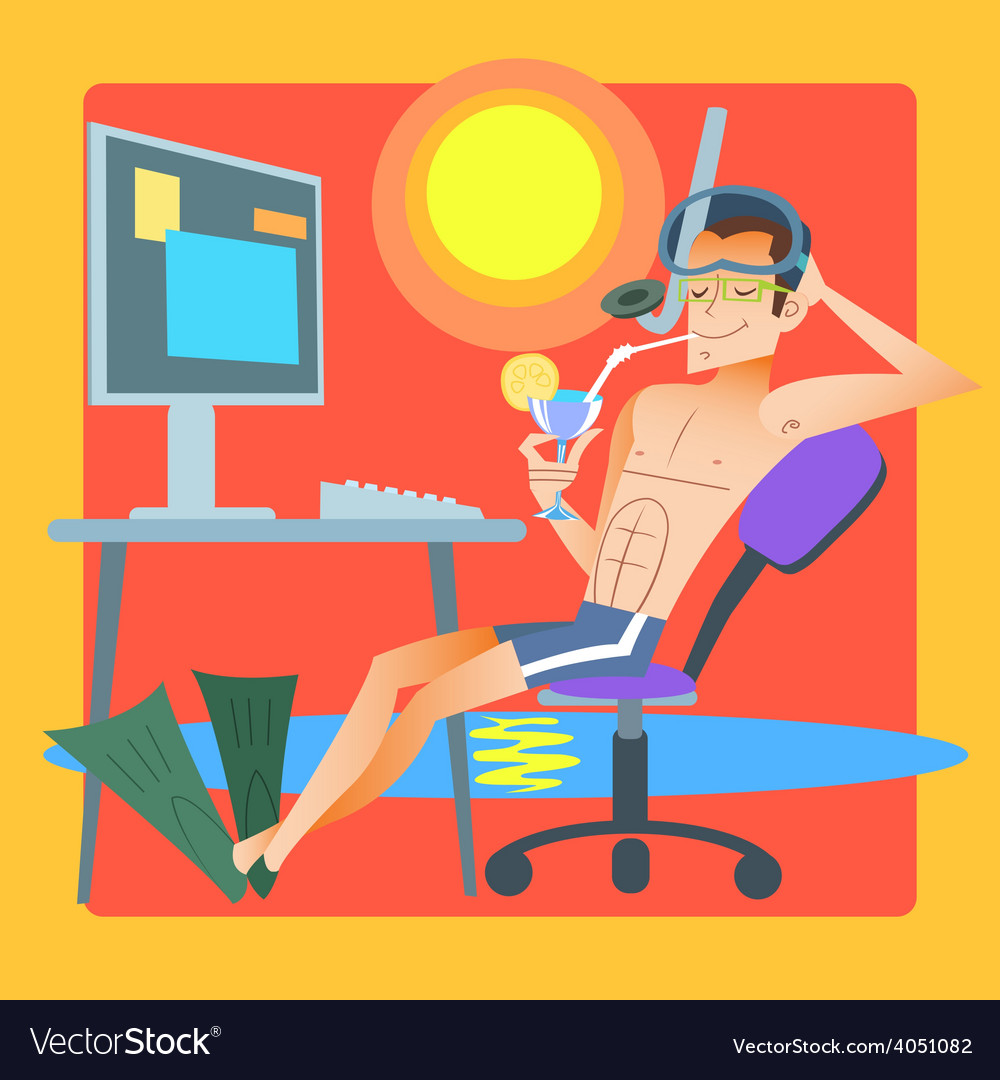 Freelancer works resort computer vector image