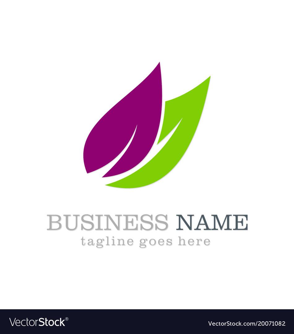 Leaf organic colored logo design