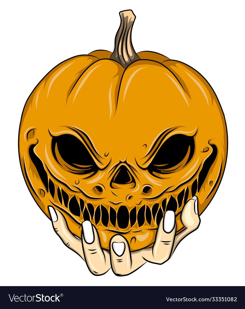 Orange head scarecrow with big smile