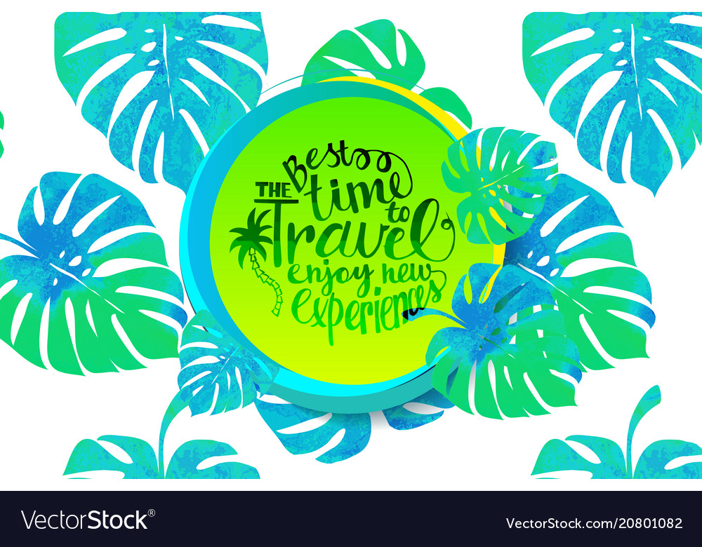 Travel time banner with tropical leaves