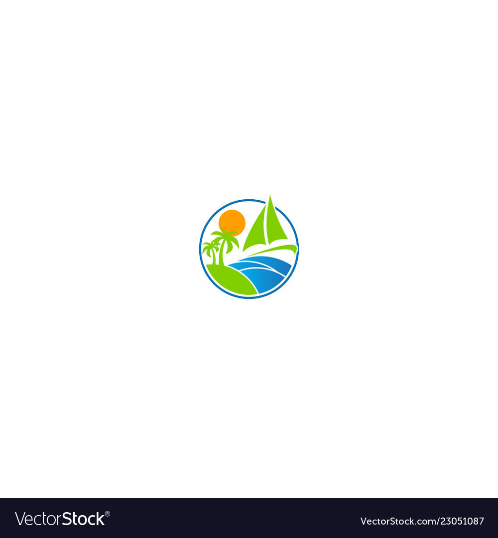 Beach tropic sail boat holiday logo