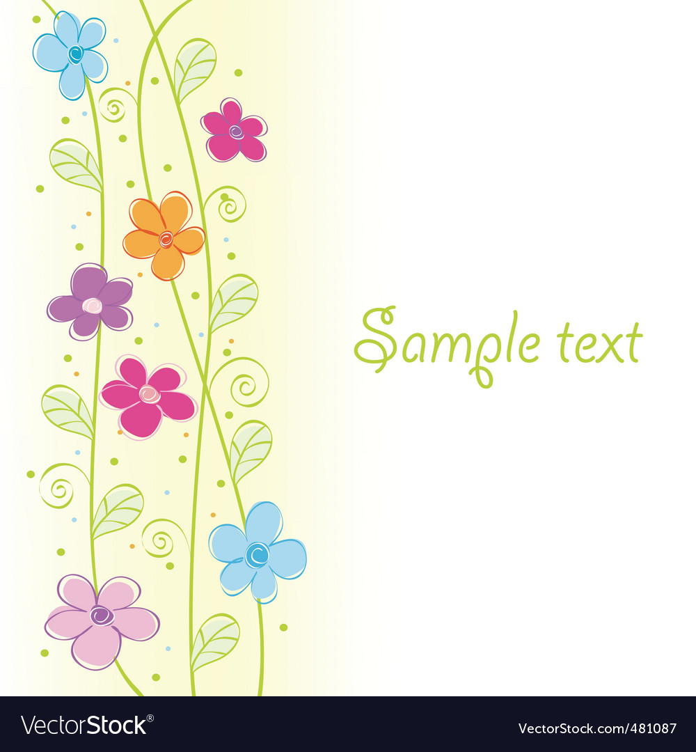 Cute floral card vector illustration