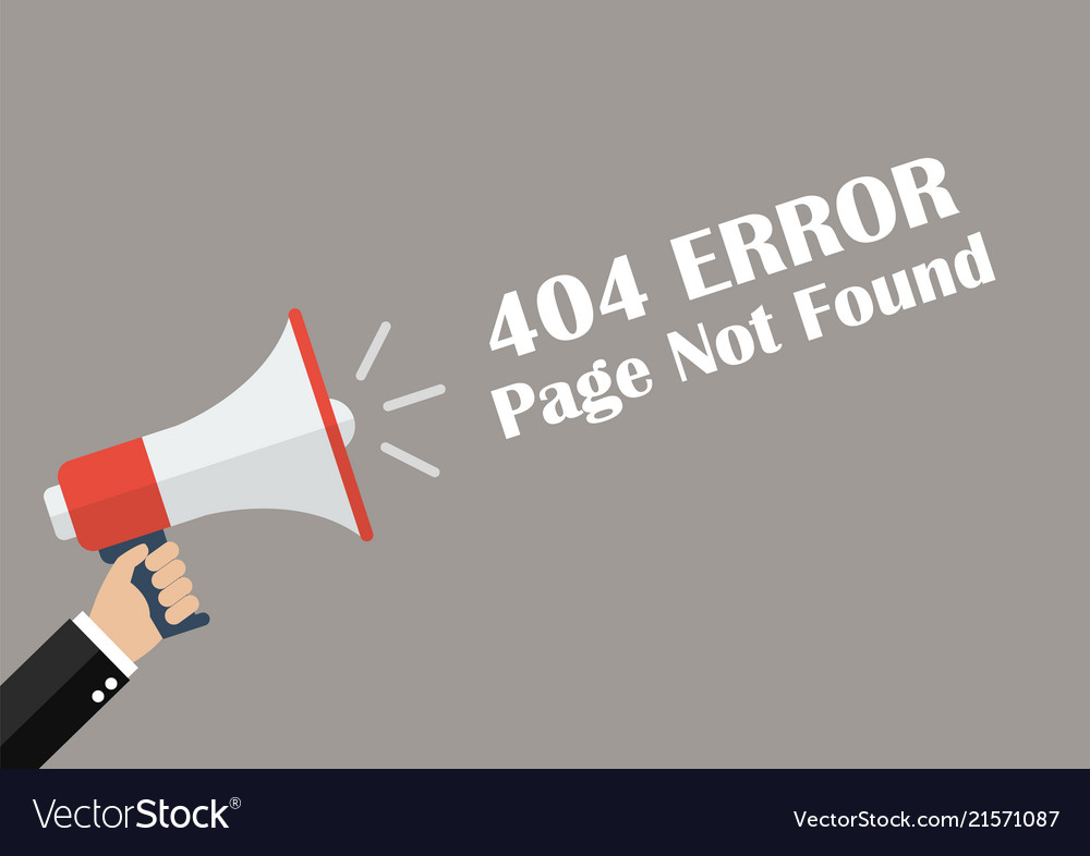 Hand holding megaphone with word page not found