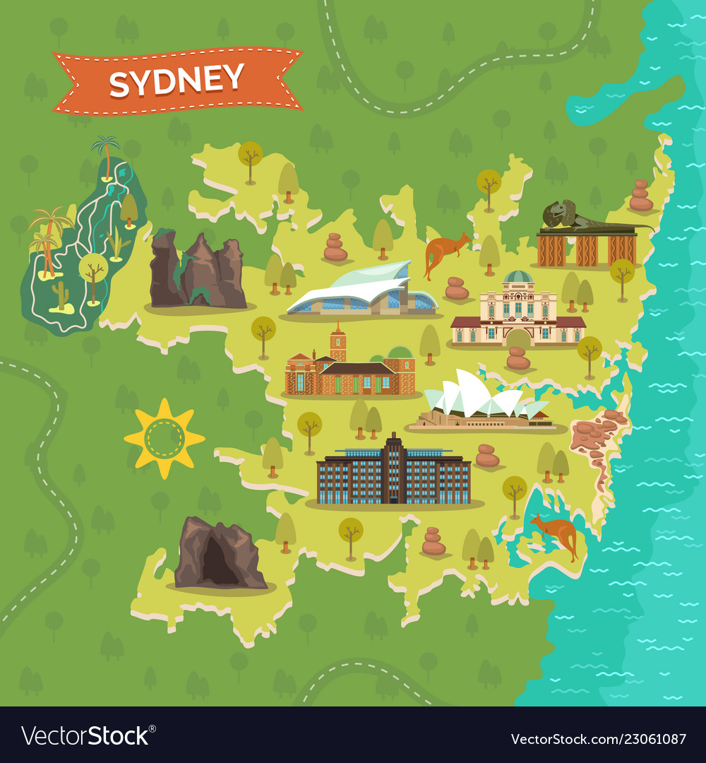 Map of sydney with landmarks for sightseeing