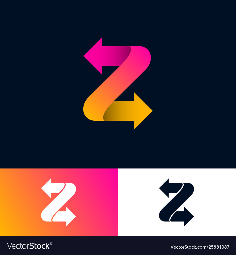 Monogram z arrows letter with directions