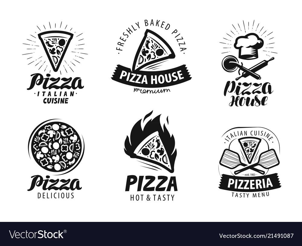 Pizza pizzeria logo or label food icon set