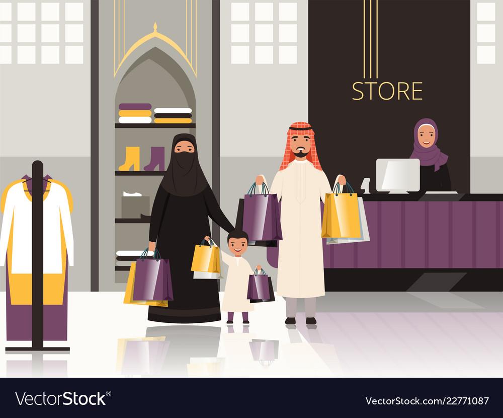 Saudi in market arabic family checkout in grocery