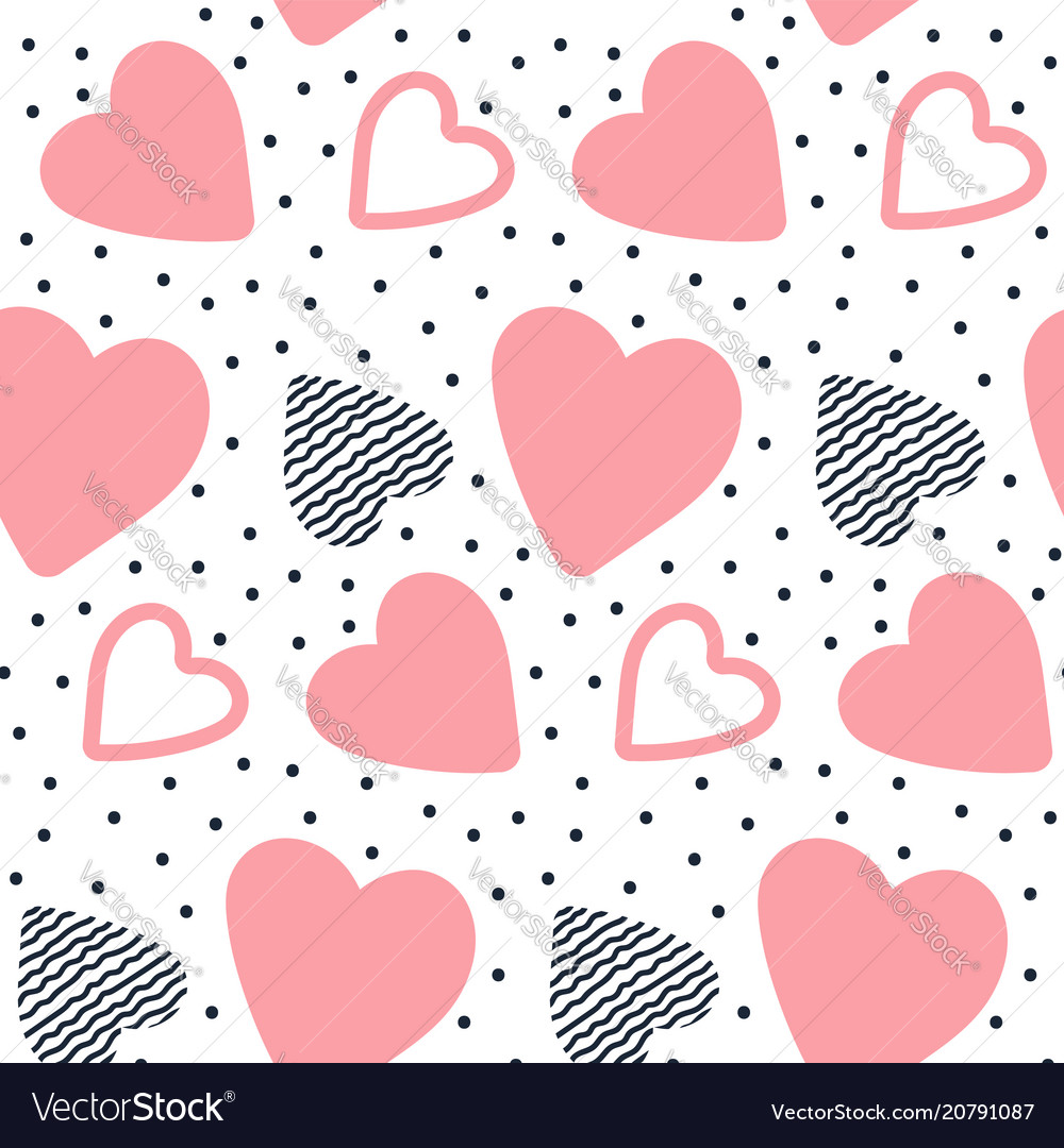 Seamless pattern with hand drawn hearts sweet
