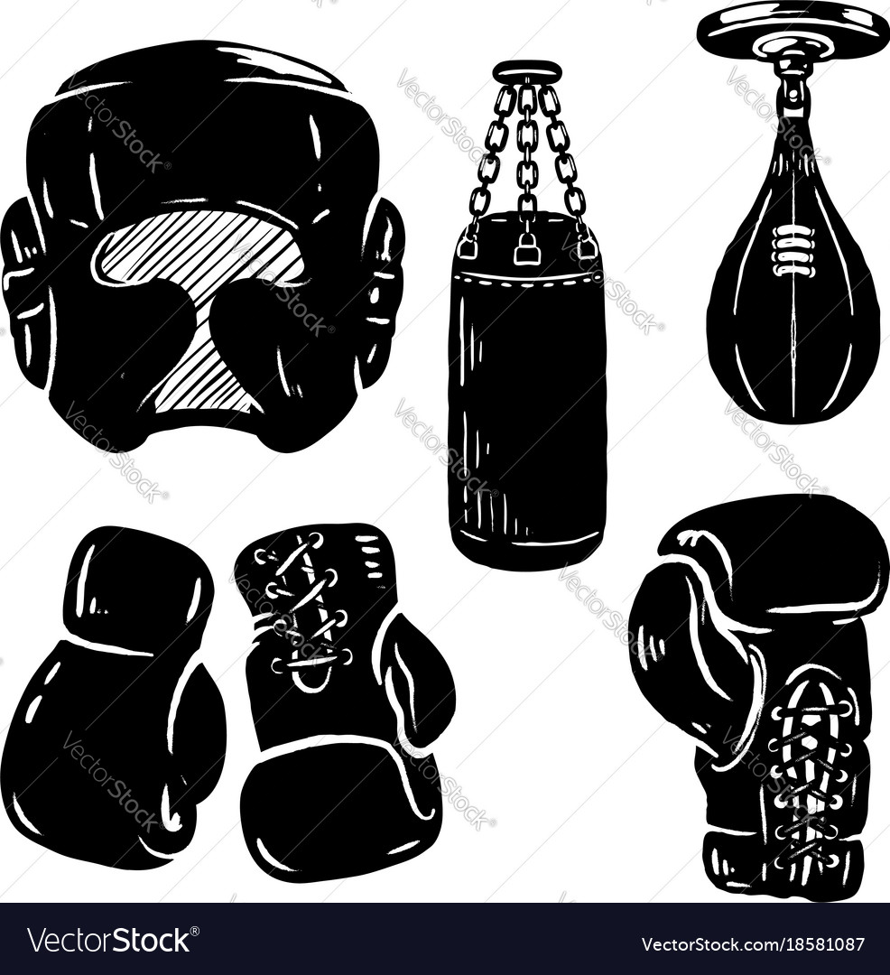 set of boxing sport design elements boxing gloves vector image rh vectorstock com boxing gloves vector art free boxing glove vector download free