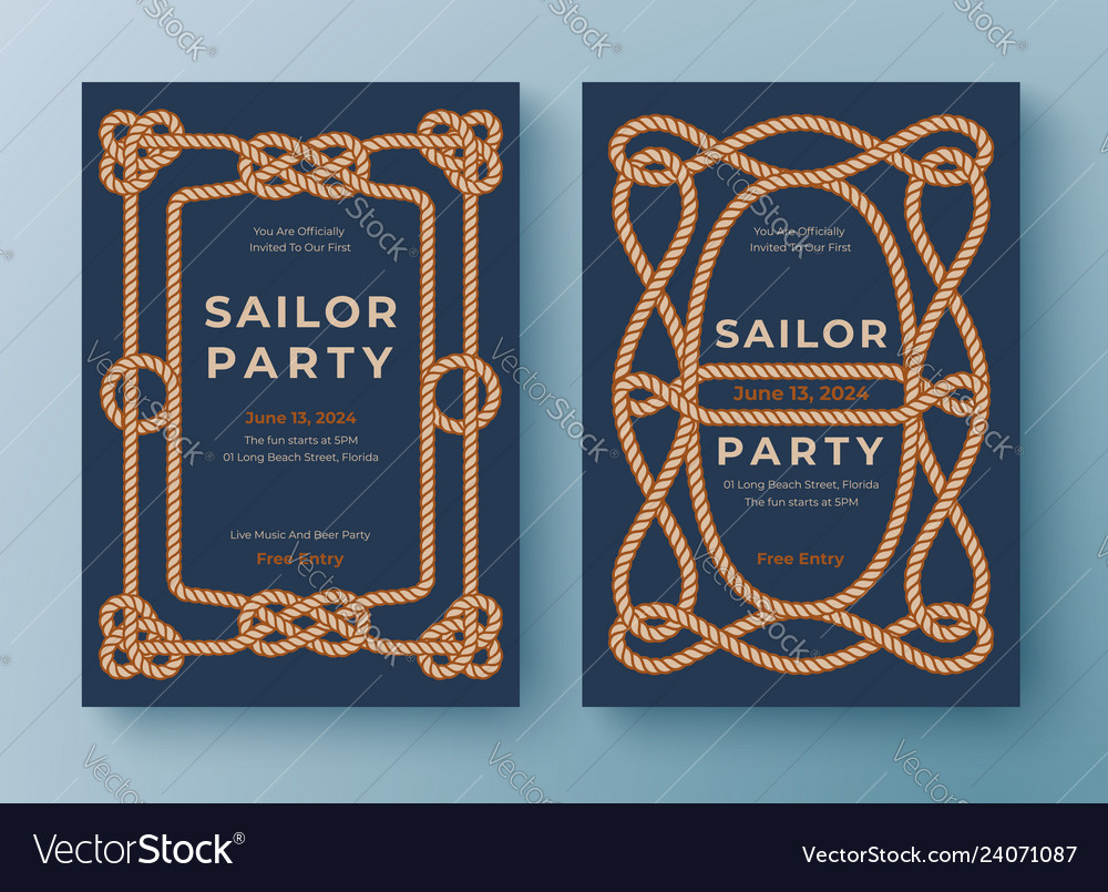 Two nautical templates rope frame border graphic