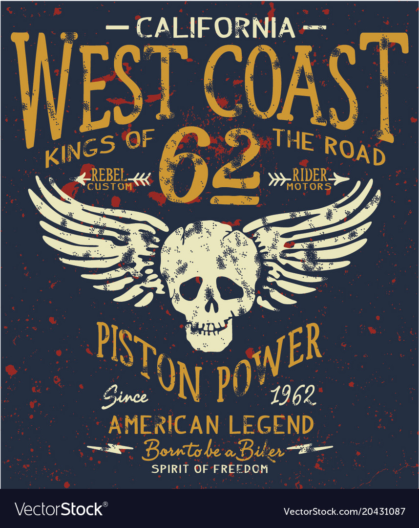 West coast motorcycle biker company american club vector