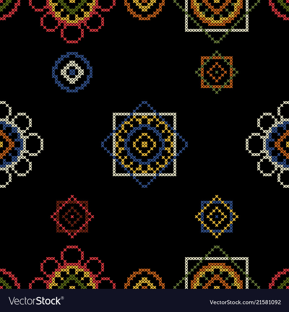 Dark bright background embroidery for tablecloth