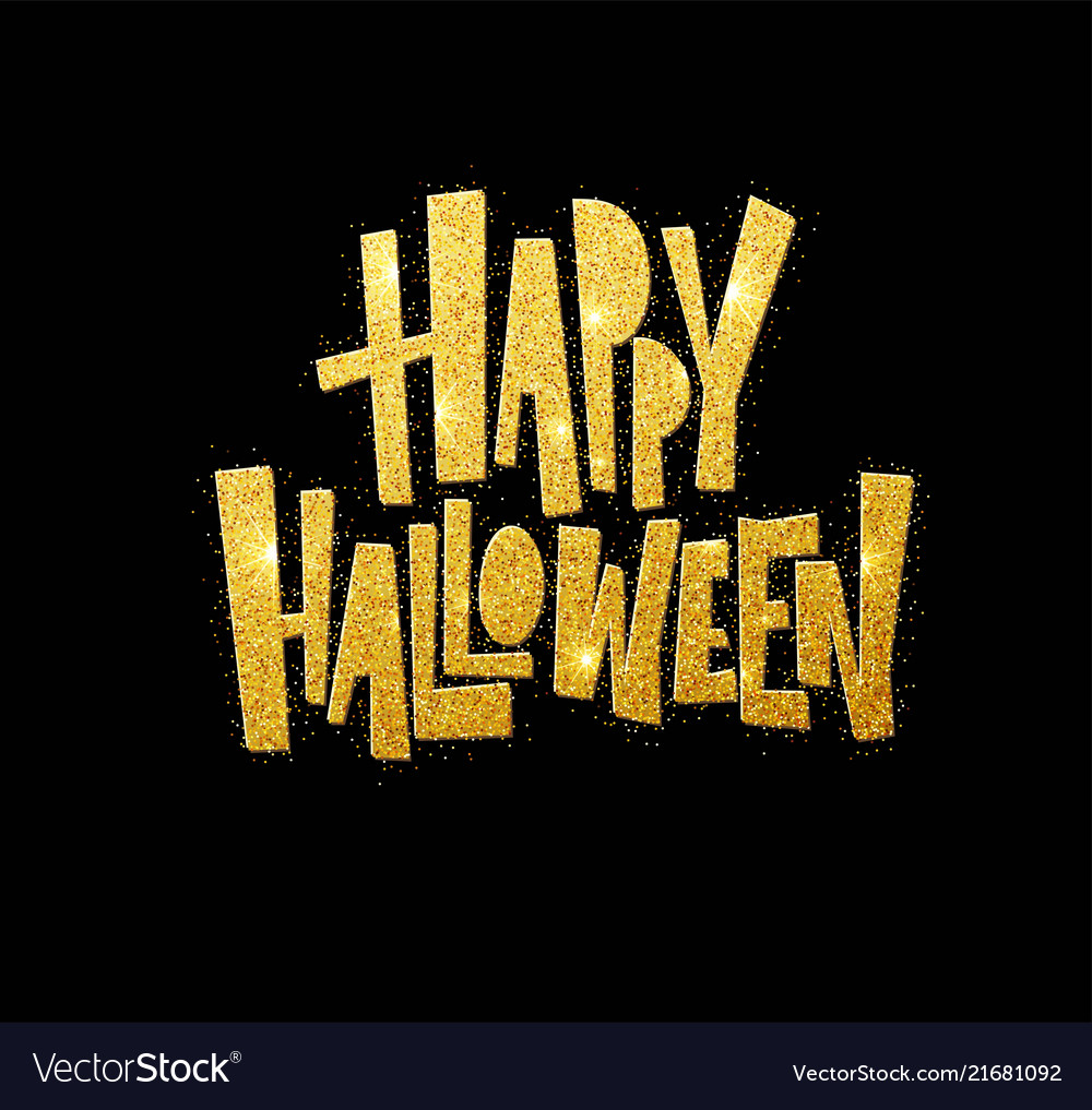 Halloween gold glitter lettering greeting card