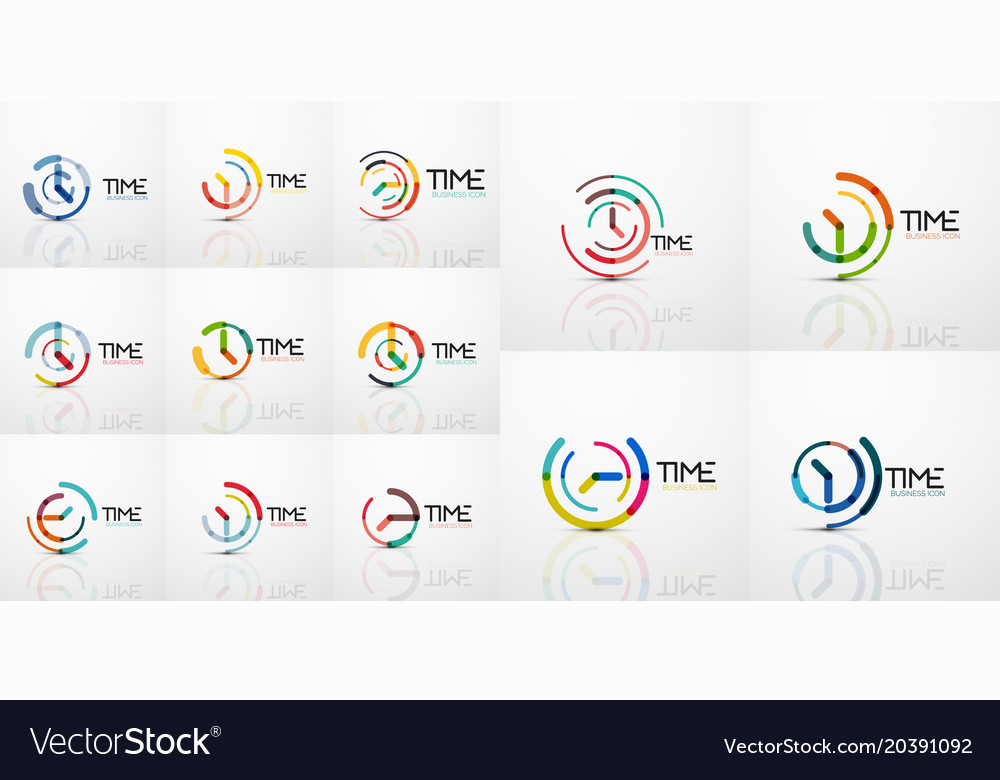 Mega collection of abstract logo idea time vector image