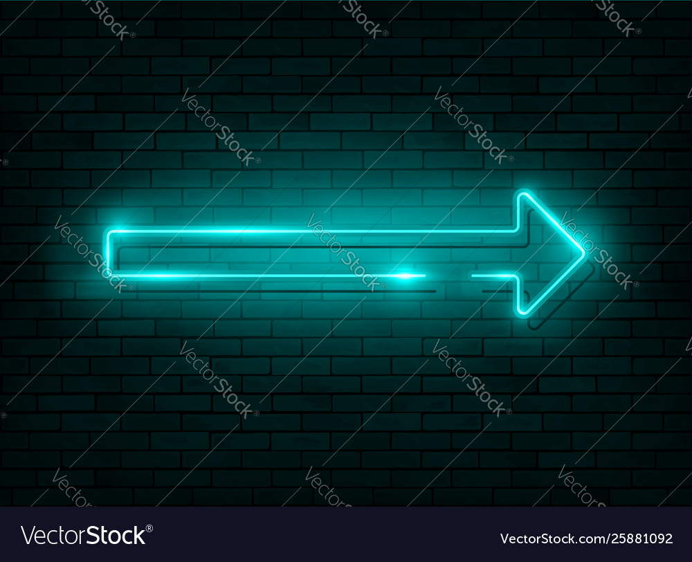 Neon arrow blue neon sign with a brick wall