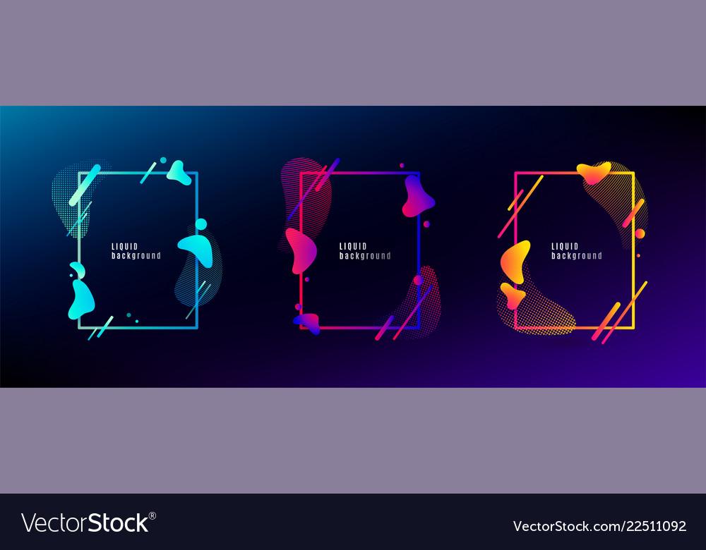Organic fluid shape frame set color abstract