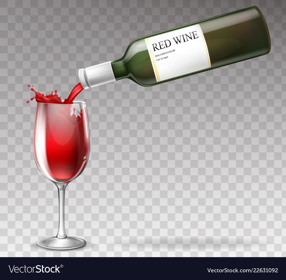 Realistic wine bottle splashing in