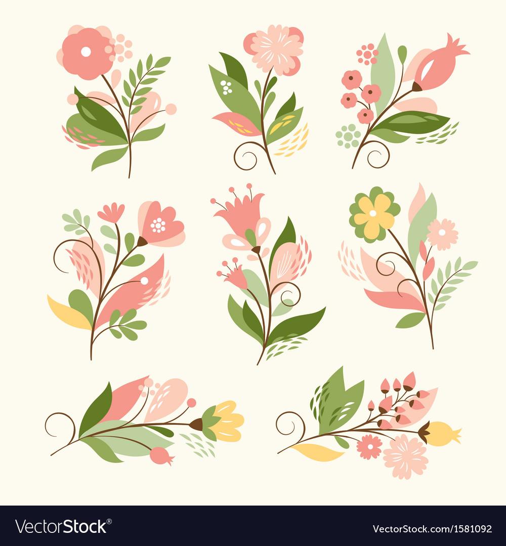 Set beauty floral bouquets