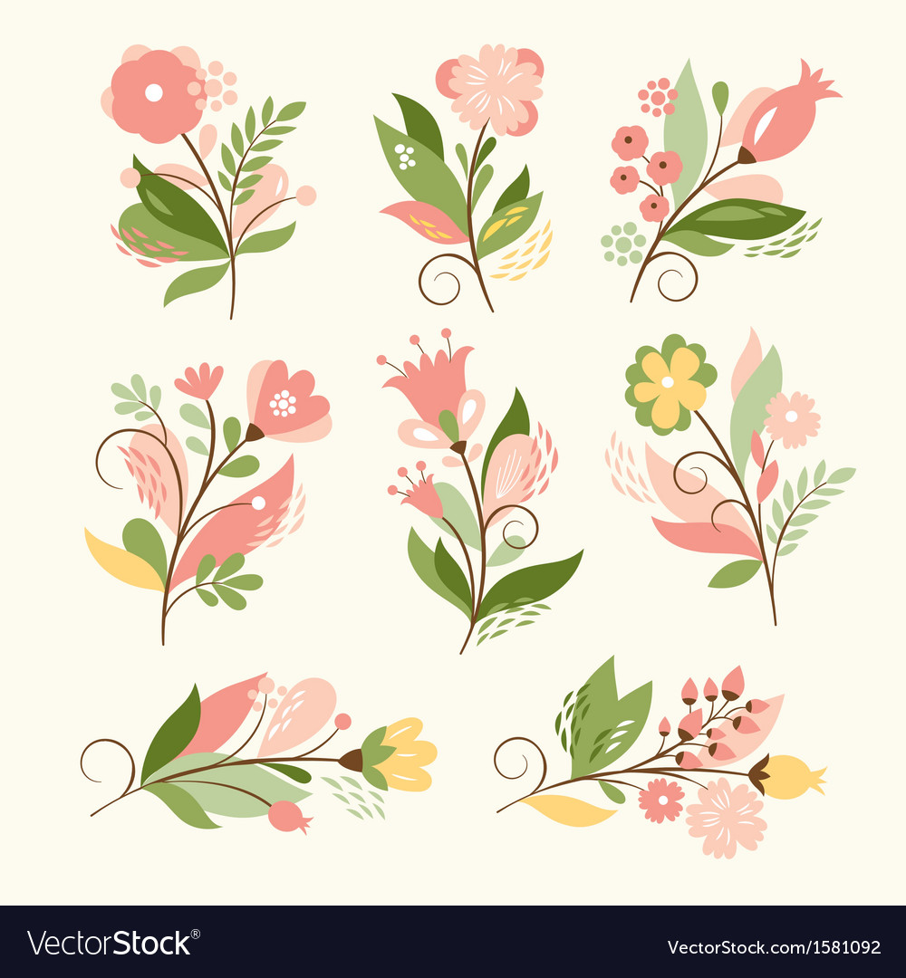 Set of beauty floral bouquets vector image