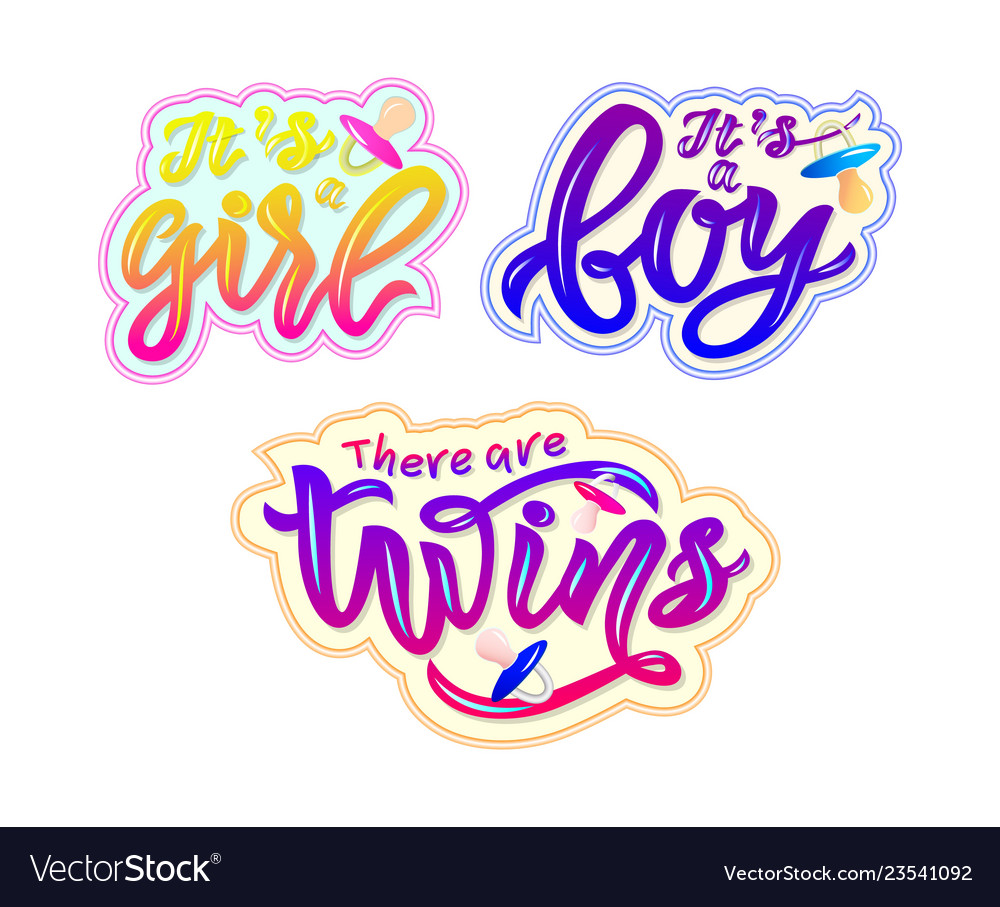 Set of stickers with text its a boy girl there