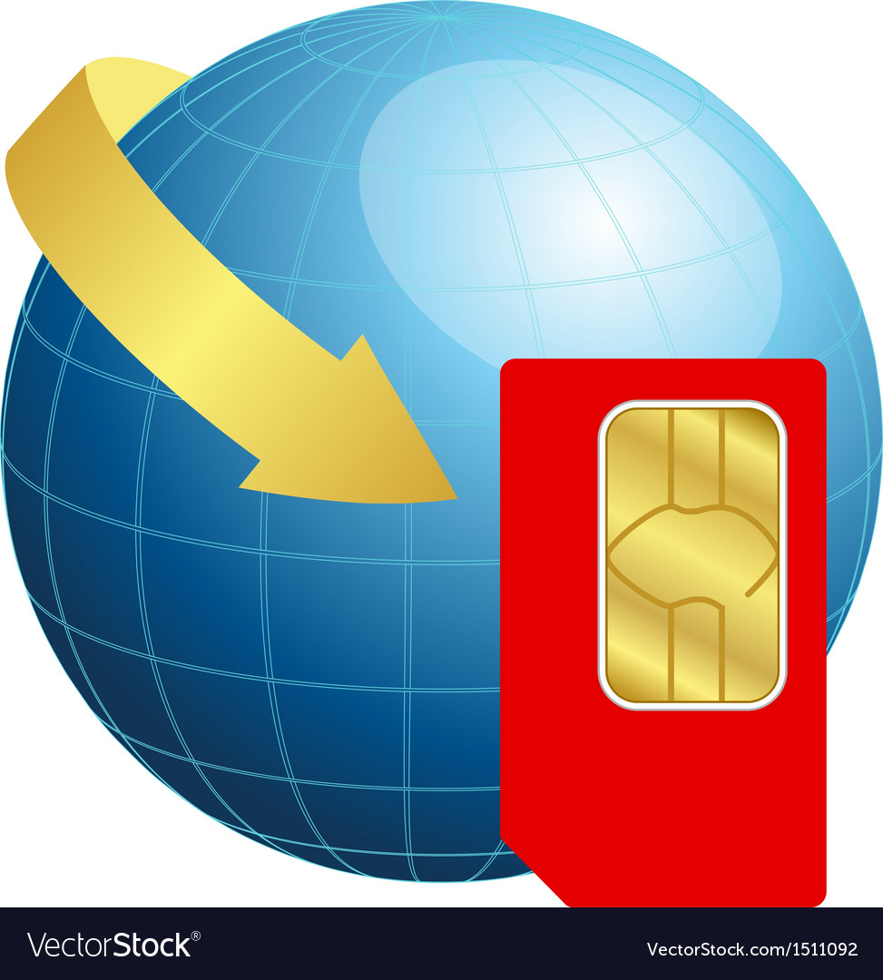 Sim card with globe and arrow