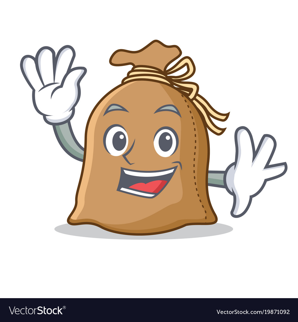 Waving sack character cartoon style vector image