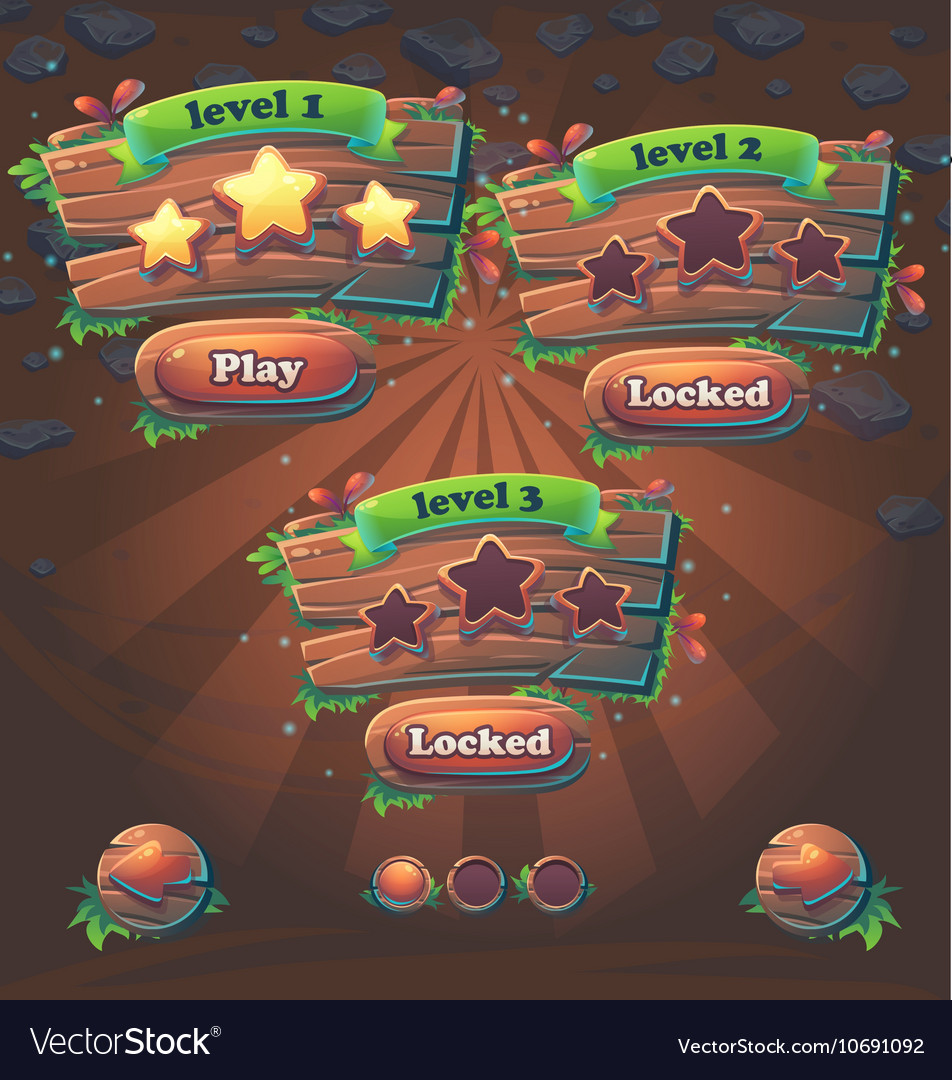 Wooden game user interface window levels