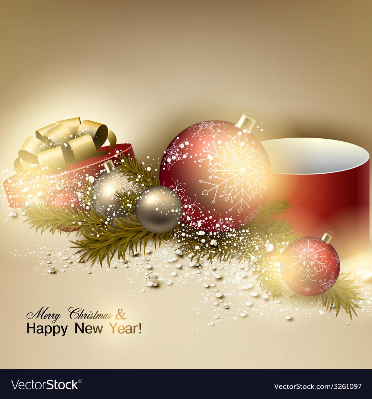 Beautiful Christmas Background Design.Beautiful Christmas Background With Red And Golden