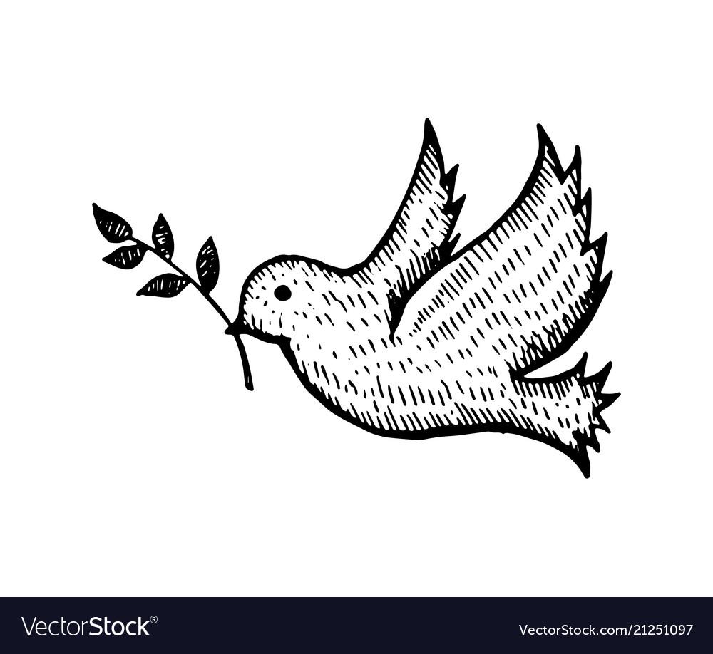 Bird with leaf flying silhouette hand drawn sketch
