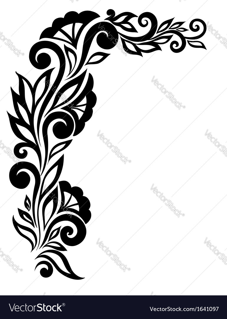 Black And White Lace Flower In The Corner Vector Image