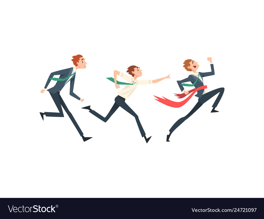 Business people running to finish line team