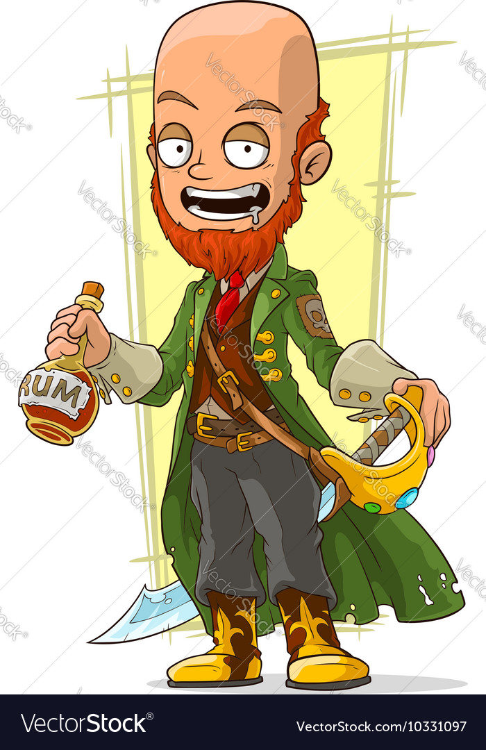 Cartoon redhead pirate with rum and