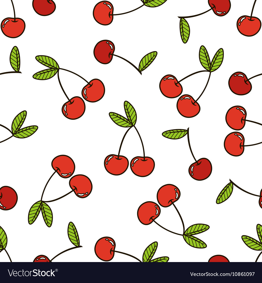 Cherry background seamless pattern vector image
