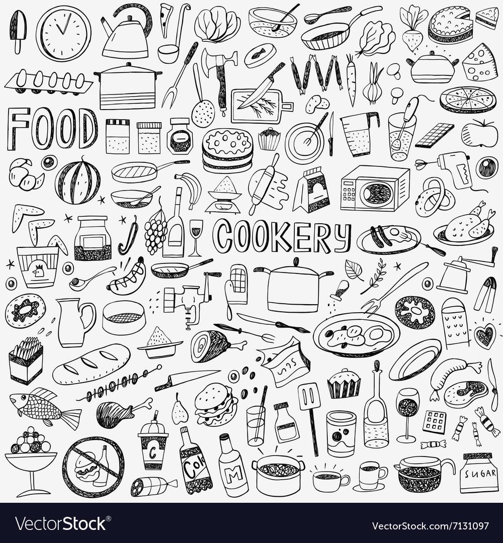 Food cookery doodles vector image