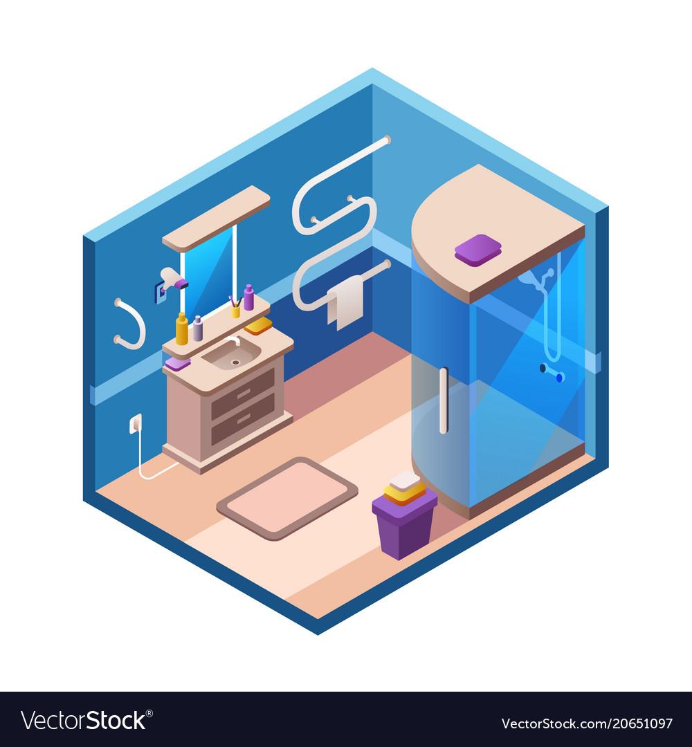 Isometric modern bathroom interior