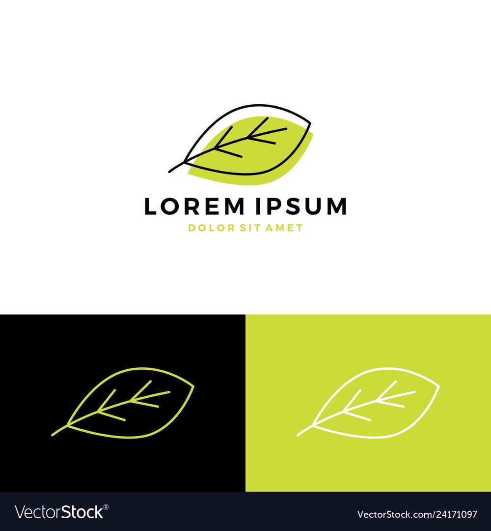 Leaf logo icon line art