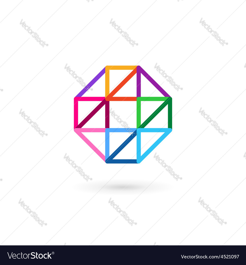 Letter O number 0 mosaic logo icon design template