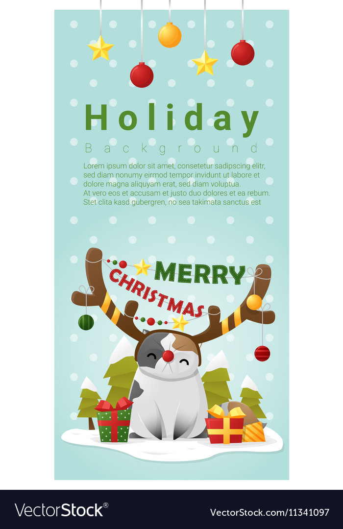 Merry Christmas Greeting banner with cat wearing